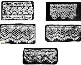 Knitted lace edgings 5 patterns in Set 4 Downloadable PDF Victorian pattern 1850s