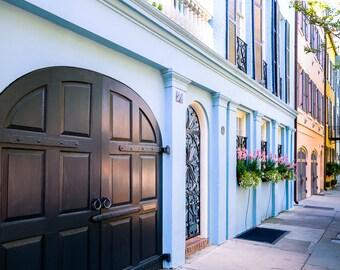 "Charleston Art, Rainbow Row, Charleston Photography, Window Box, Blue, Pink, Low Country, Charleston Door, Gate, Wall Decor - ""Rainbow Blue"""