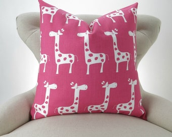 Hot Pink Giraffe Pillow Cover -MANY SIZES- Candy Pink White Stretch Zoo Premier Prints - cushion throw couch euro sham decorative nursery