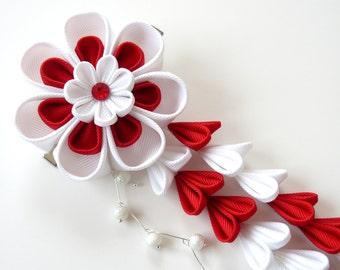 Kanzashi Fabric Flower hair clip with falls. Red and white fabric flower. Red and white kanzashi