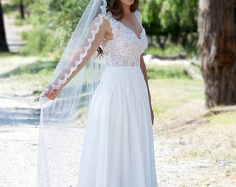 Mantilla Veil,  Wedding Veil, Veil, Bridal Veil, Wedding Veil, Traditional Veil, Drop Veil, Cathedral length Veil |  ELIZA