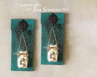 Beach Decor, Mason Jar Wall Sconces, Mermaid Decor, Coastal Decor, Beach  Sconce
