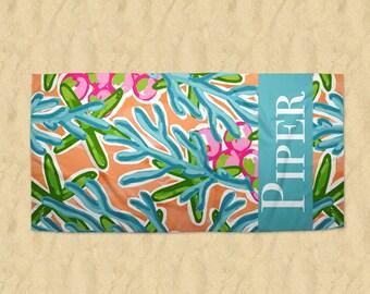 Personalized Beach Towel, Monogram Beach Towel, Bath Towel, Micro Fiber Velour Beach Towel, Personalized Gift, Summer Towel