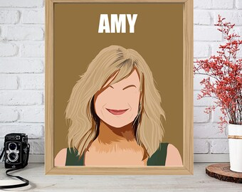 AMY POEHLER Print - Minimalist Poster Drawing Art - 30 Rock