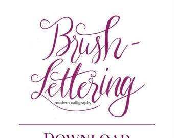 Brush-Lettering Grundkurs zum Ausdrucken, Handlettering, Lettering, Lettern lernen mit Brushpens, Brushlettering Alphabet, Banner lettern