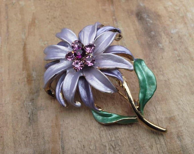 Vintage Frosted Matt Purple Lilac Enamel & Gold Tone Flower Brooch Pin c 1970's
