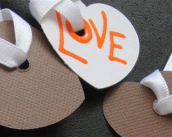 """Candy Hearts - """"Love & XO"""" - Six (6) Large Premium Hand-hammered Confetti Gift Tags - Textured Card Stock DDOTS"""