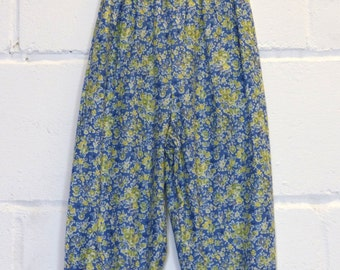 Upcycled Blue Ditsy Print Kids Trousers