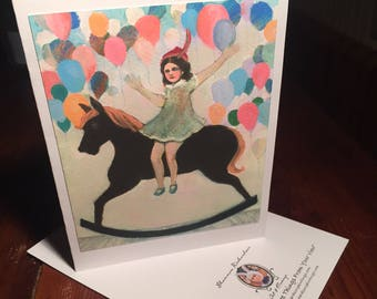 """Blank Note Card """"She Couldn't Wait To Get Off That Ride"""" Birthday Party Invite, Rocking Horse, celebration card, New Year's Party Invite"""