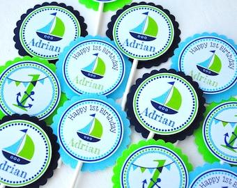 Nautical Cupcake toppers, Nautical Birthday Party, Sailboat Cupcake toppers, Nautical Baby Shower -Set of 12