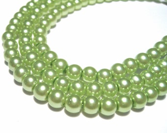 100pcs Light Olive Green Glass Pearl Beads, 6mm Round