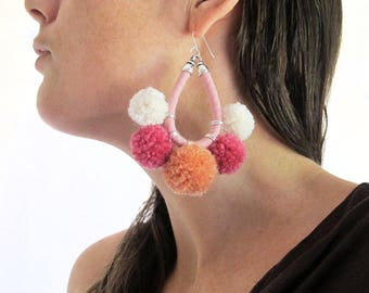 Pompom earrings, Large statement earrings, Pink, Orange, White, Handmade pompoms, Sterling silver hooks, Cotton fabric hoops, Fabric jewelry