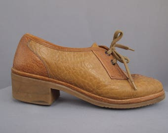 Vintage leather shoes - Sioux shoes - granny chic - retro shoes - 70s - lace ups - chunky heels -