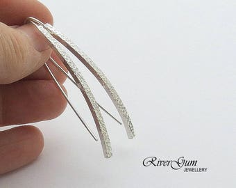 Long Bar Silver Earrings, Curved Bar Earrings, Silver Earrings, Long Earrings, Handmade by RiverGum Jewellery