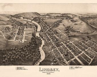 Lindsey, Jefferson County, Pennsylvania. Antique Birdseye Map; 1895