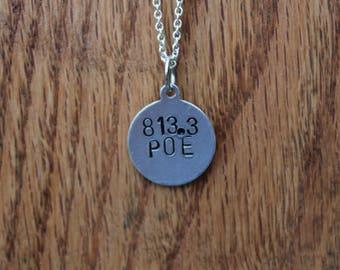 813.3 Poe - Edgar Allan Poe Dewey Decimel Metal Stamped necklace
