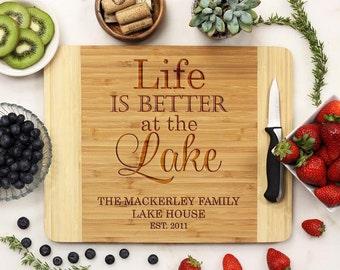 Personalized Cutting Board, Custom Engraved Cutting Board, Lake House Cabin, Housewarming Retirement Vacation, Bamboo Wood --21065-CUTB-001