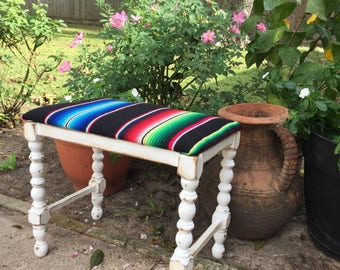 Shabby chic distressed bench - serape fabric upholstery