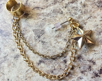 Simple gold star ear cuff