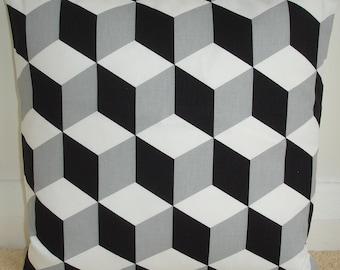 "18x18 Pillow Cover 18"" Black White and Grey Cubes Charcoal Gray Decorative Cushion Slip Sham Case Pillowcase Geometric Contemporary Modern"
