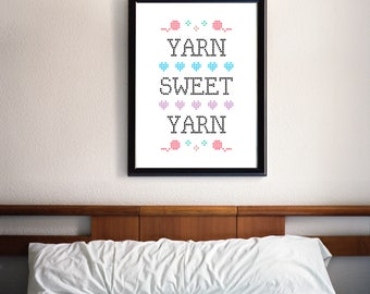typography print, Craft room sign, printable art, mothers day gift, knit, crochet, yarn, poster, wall art, yarn sweet yarn, home sweet home