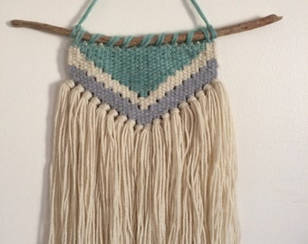 Aqua, Off White & Grey Hand Woven Wall Hanging - Gender Neutral Nursery Decor