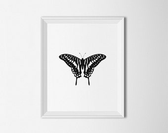 Black and white Butterfly printable, Modern art, Printable artwork, Minimal decor, minimalist wall art, Butterfly wall art, Home decor