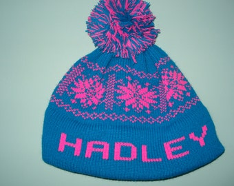 Personalized and machine washable child's knit hat -  Hadley