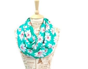Floral Infinity Scarf, Mint Scarf, Printed Scarves, Floral Scarf, Mom Gift For Her, Wife Gift Mother Gift, Womens Scarf, Spring Fashion