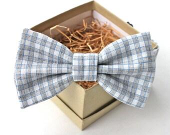 Grey Gingham Bow Tie - Mens Pre-Tied Bow Tie - Womens Pre-Tied Bow Tie - Adjustable Bow Tie