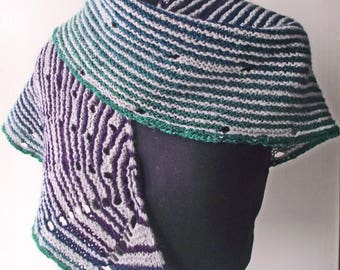 Striped Gradient Shawl, Mothers Day, Artisan Handspun Knit Wrap, Purple Grey Green Scarf, Corriedale Silk Merino Handspun Crescent Scarf