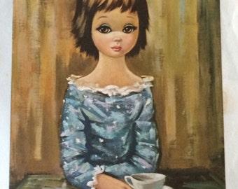 """Vintage 9"""" x 7"""" Eden Big Eyed Girl Litho"""