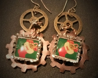 Steampunk candy canes and stockings earrings