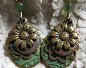 Vintage Silver Forest Pierced Dangle  Earrings - Sage Green Bead and Bangle, Daisy Flower and Filigree - Earthy, Free Spirit Earrings