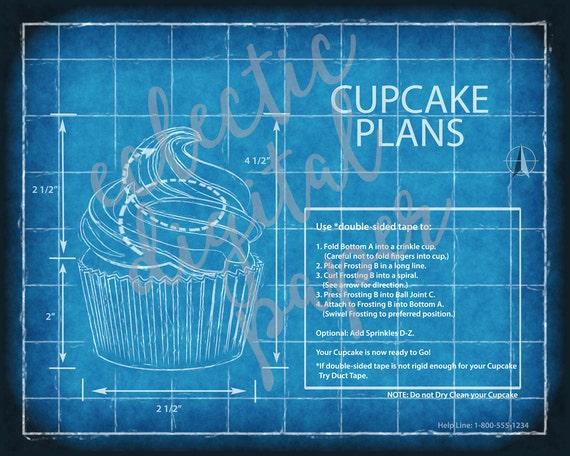 Funny cupcake blueprint cupcake poster cupcake wall art funny cupcake blueprint cupcake poster cupcake wall art gift for cupcake lover digital print printable cupcake art computer blue print malvernweather Images
