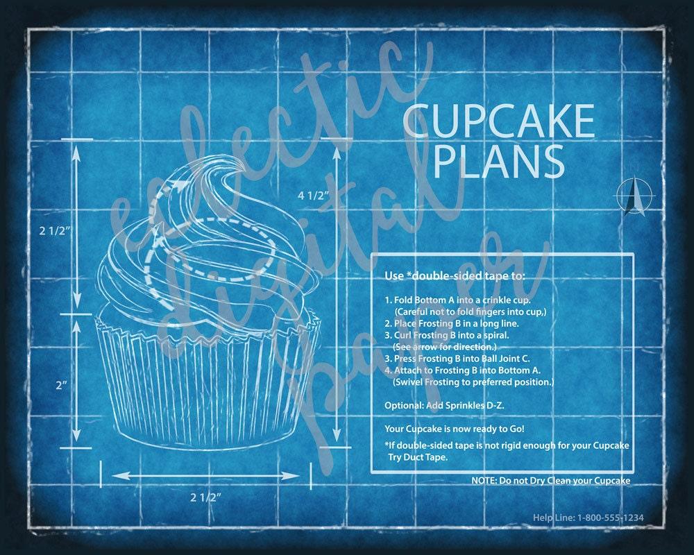 Funny cupcake blueprint cupcake poster cupcake wall art zoom malvernweather Gallery