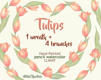 Tulips clipart, Wreath of tulips, Flower Heart clipart,Hand-painted watercolor pencils clipart,Love clipart,floral invitations,greeting card