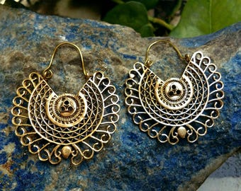 Brass Hoop Earrings. Boho Earrings. Gypsy Hoop Earrings. Ethnic Earrings. Tribal design. Handmade Jewelry. Festival Jewelry