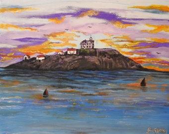 Egg Rock lighthouse 1800s Massachusetts 16x20 acrylic painting on canvas panel