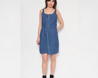 Vintage 90's Lace Up Denim Dress / Sleeveless Denim Dress / Mini Denim Dress