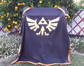 Legend of Zelda Hylian Crest Black and Gold Variant Fleece Blanket