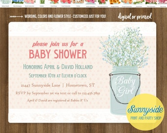 Feminine baby shower invitation with mason jar and babies breath, baby girl printable digital invite, you choose flower!