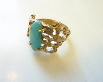 Prong-Set Turquoise Gemstone Ring in Bronze, Organic Lacy Coral, Nautical, Sea Lace Turquoise Ring, Size 8