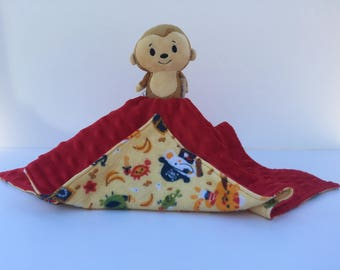 Ultra Plush and Snuggly Monkey Lovey Blanket