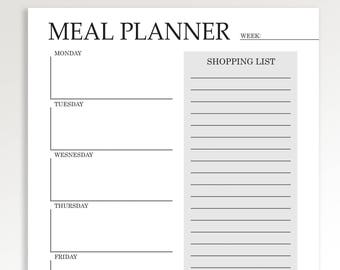 Meal Planner Printable, Weekly Meal Planner, Grocery list, Menu Planning Notebook, Planner Inserts, Shopping List Notepad