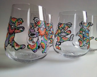 Grateful Dead Wine Glasses, Dancing Bear Wine Glass, Hand Painted Wine Glass, The Dead wine glass