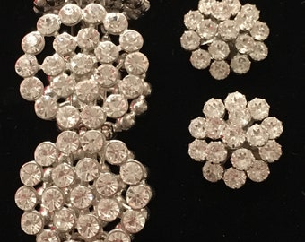 Rhinestone Bracelet and Clip-on Earring Set