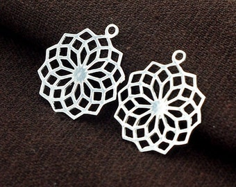 2 of 925 Sterling Silver Filigree Flower Pendants 19 mm. Polish Finished  :th2417