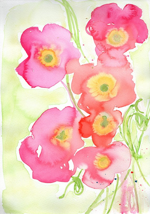 Pink on Green Poppies Archival Wall Art Print Illustration