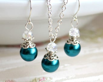 Teal Bridesmaid jewelry set Teal necklace and earrings Bridesmaid gift set Will You be my bridesmaid proposal Wedding jewelry set